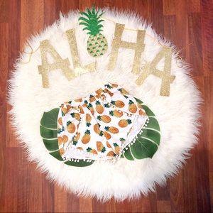 Pants - Pineapple Pom Pom Shorts • Small